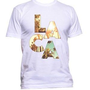 LA Los Angeles CA men white t shirt